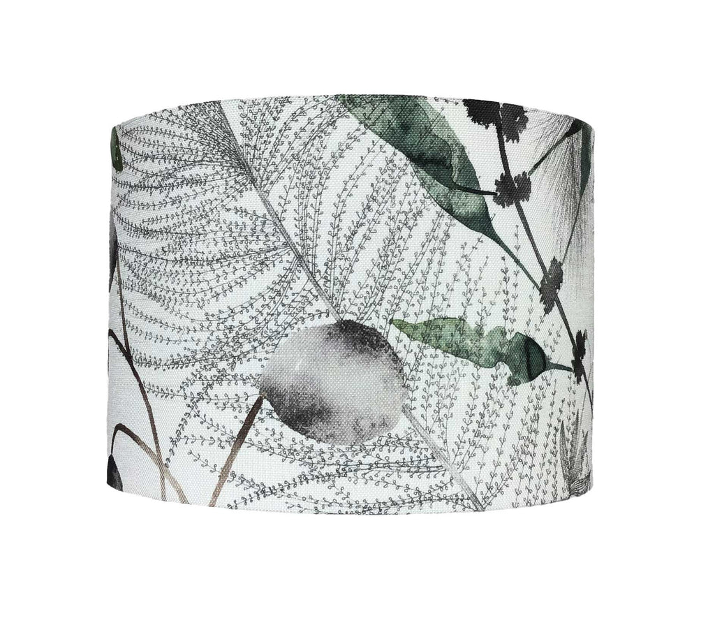 Large Lamp Shade with Botanical Design in Greens and Naturals