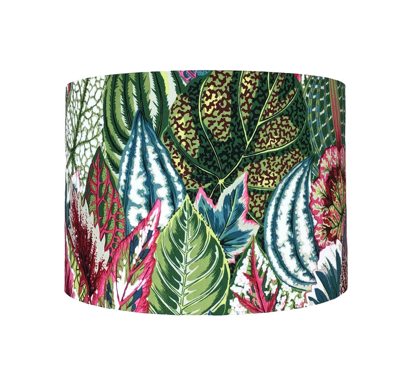 Colourful Lamp Shade with Large Petunia Leaves in Teal, Greens and Burgundy, Front View - ZziniHome