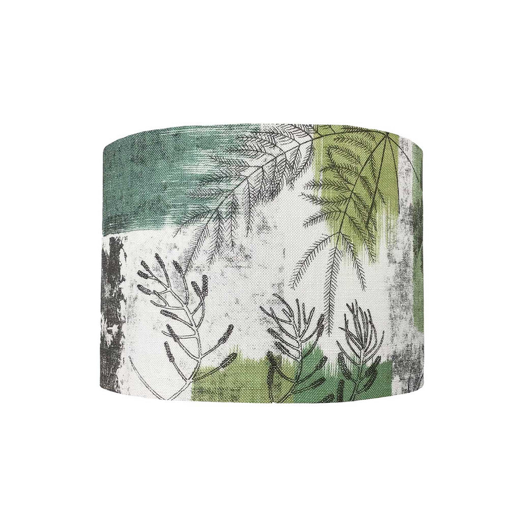 Lamp Shade in a Botanical Design with Ink Drawings of Leaves and Ferns. All Against a Background of Mutes Greens and Aquas - ZziniHome