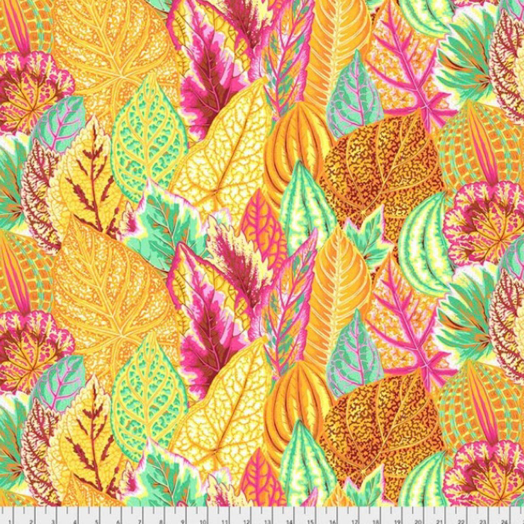 Fabric for Bespoke Lamp Shade in Bold Yellow, Orange and Pink Leaves - ZziniHome