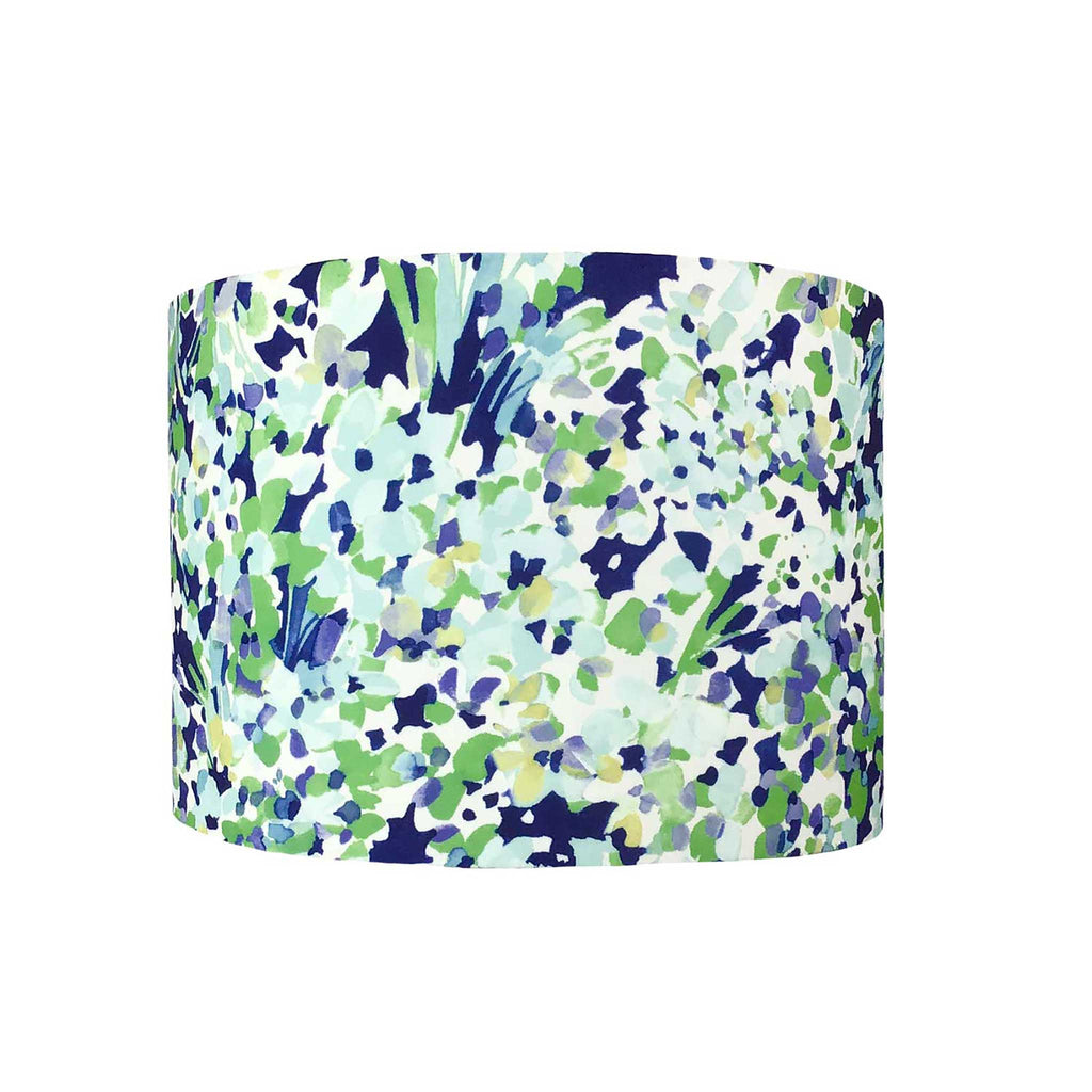 Lamp Shade in an Abstract Navy and Green Design