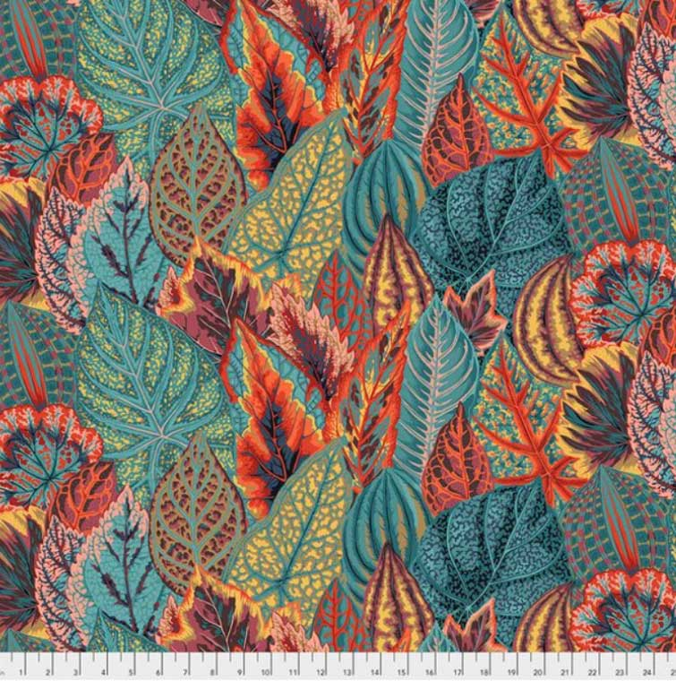 Fabric for Bespoke Lamp Shade in Bold Teal, Orange and Yellow Leaves - ZziniHome