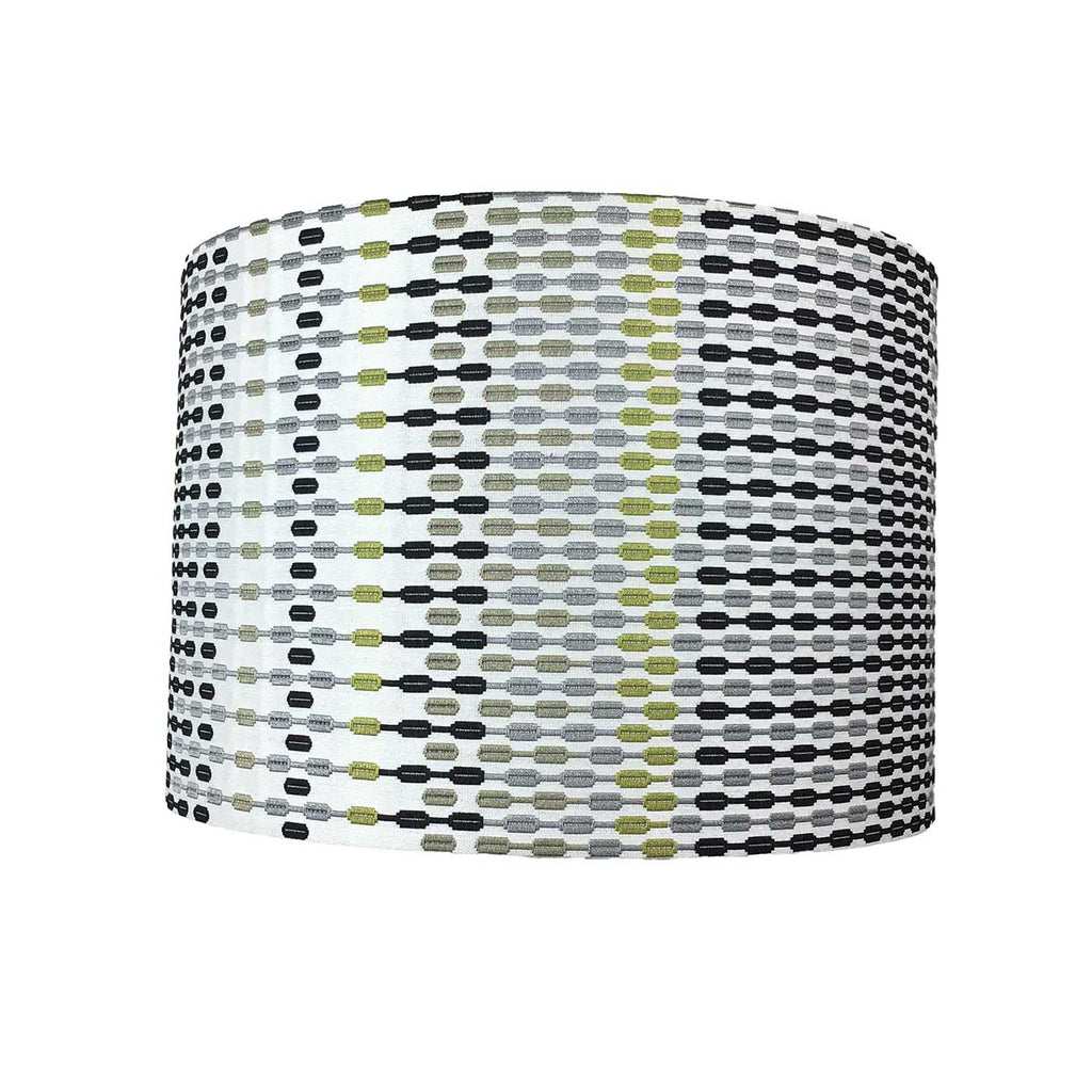 Lamp Shade in a Small Geometrical Pattern in Greys, Charcoal and with Yellow/Citrus Accent - ZziniHome
