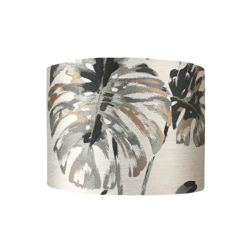 Lamp Shade in Large Cheese Plant Leaves in Greys and Pink - ZziniHome