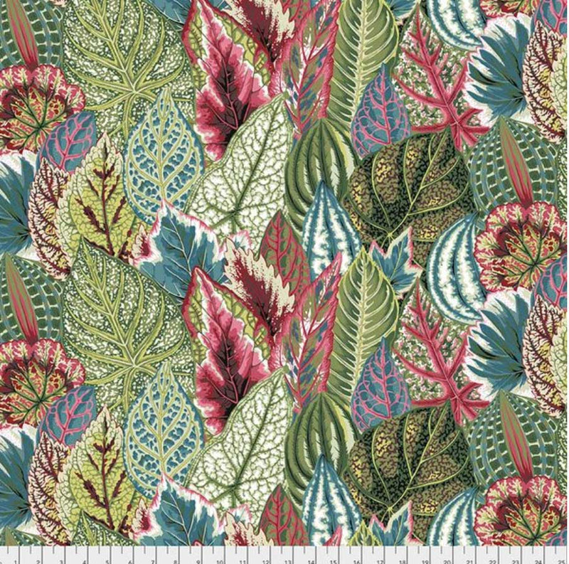 Fabric for Bespoke Lamp Shade in Bold Teal, Burgundy and Green  Leaves - ZziniHome