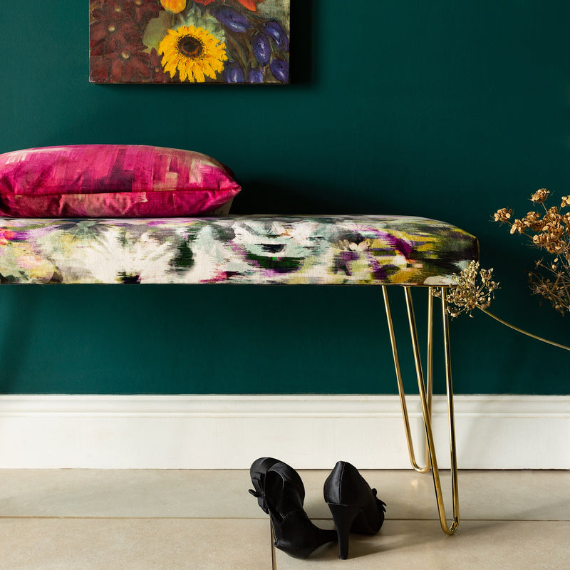Stylish DueBench in a sumptuous velvet with a playful design of abstract pansies - ZziniHome