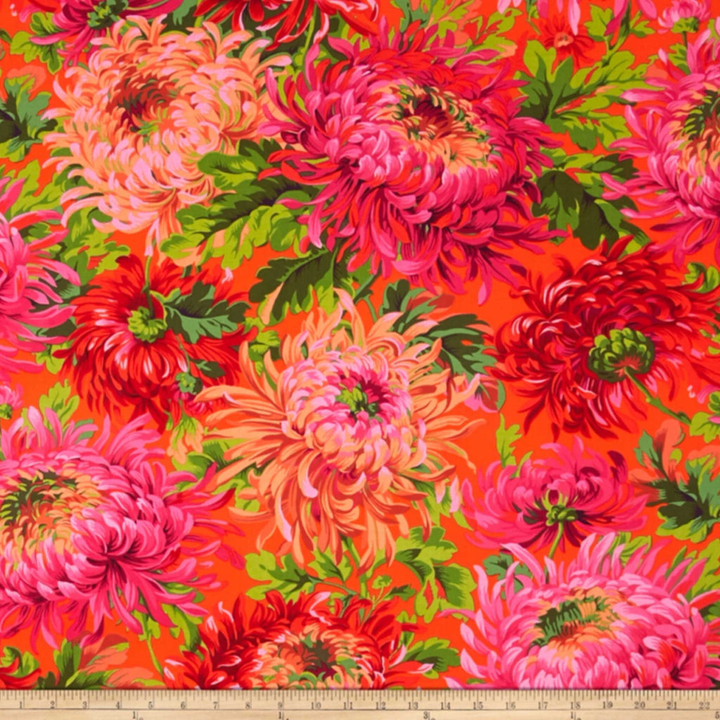 Fabric for Colourful Bespoke Lamp Shade with Large Flowers in Pinks, Oranges and Greens - ZziniHome