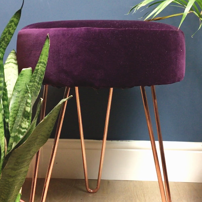 SoloStool in  rich berry tone velvet - ZziniHome