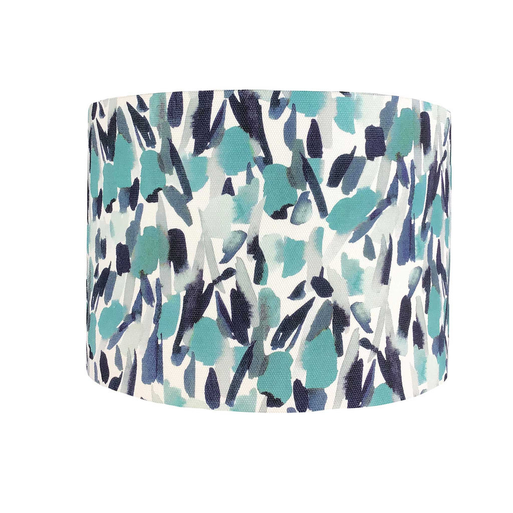 Lamp Shade with Teal and Nay Brush Strokes Design - ZziniHome