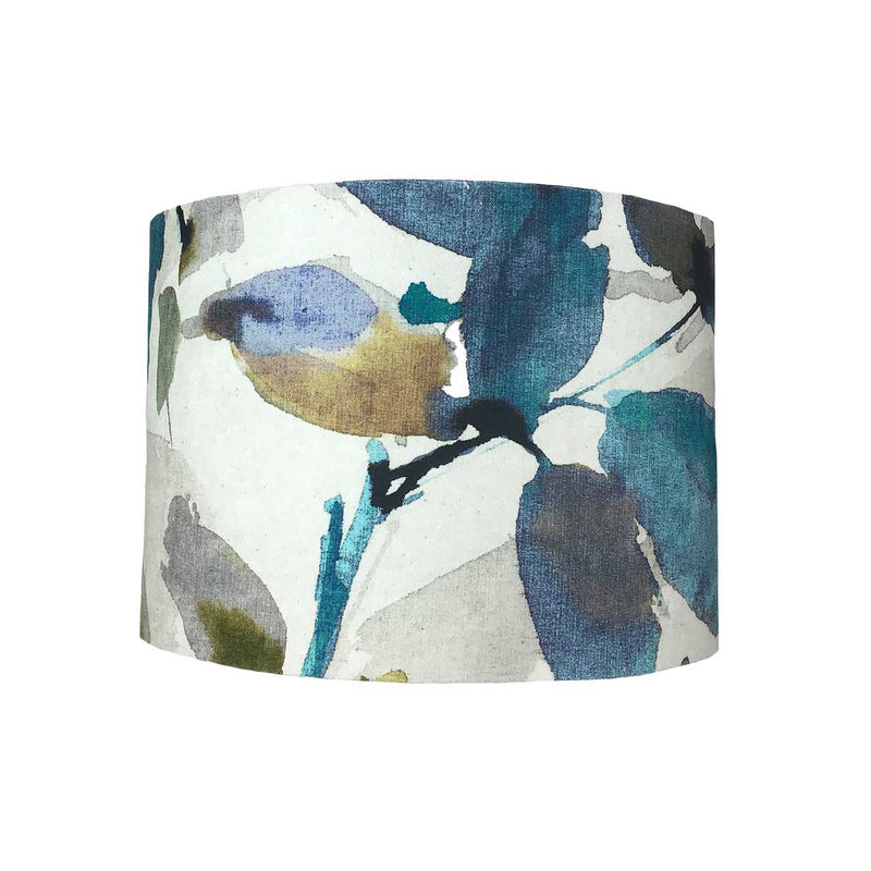 Lamp Shade in Teal and Green Leaves