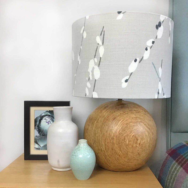 Lamp Shade in a Delicate Japanese Style Design of Willow Branches with Cotton Buds. All in Muted Greys and Duck Egg Colours. Lamp on a Bedside Table - ZziniHome