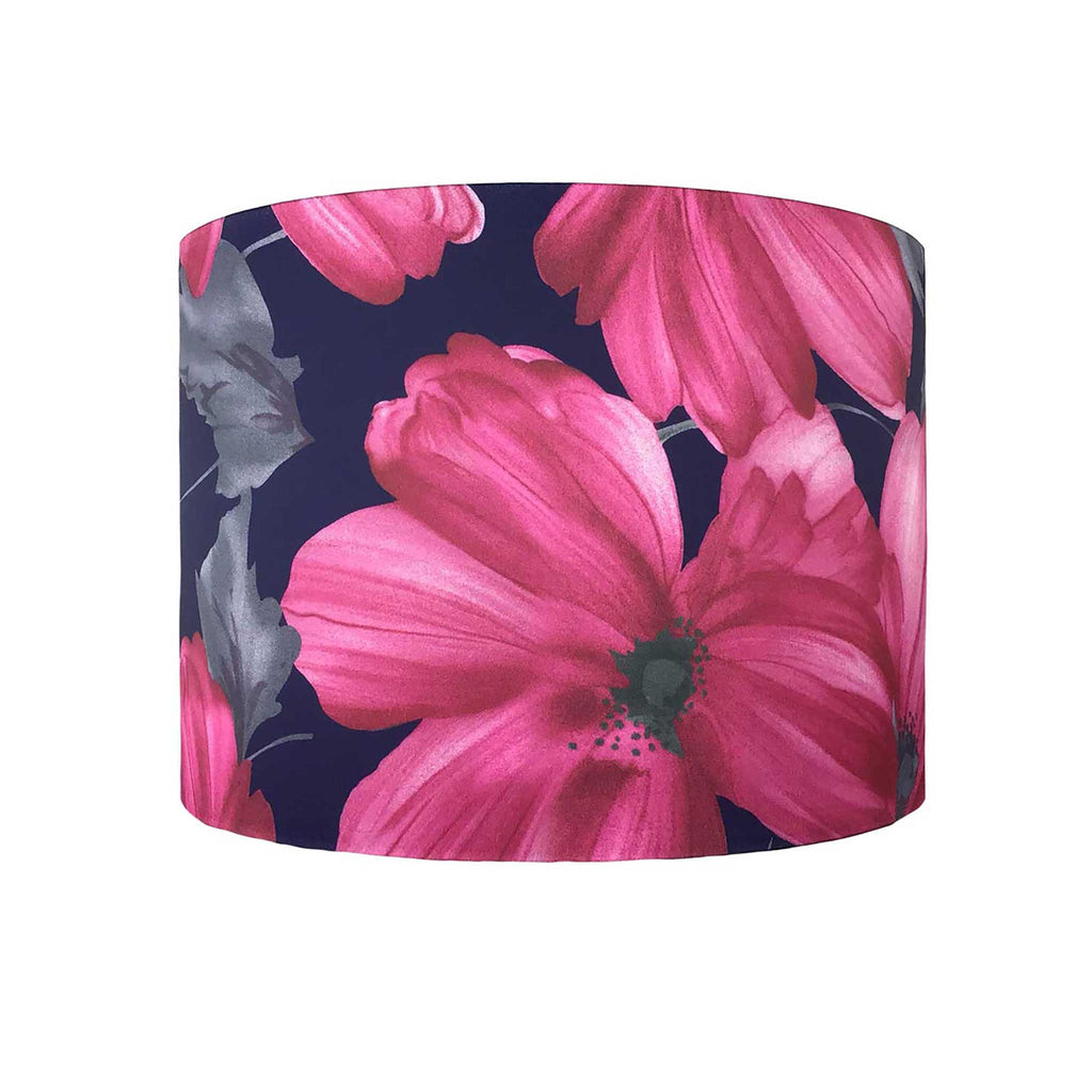Lamp Shade in Bold Pink Flower on a Navy Background. The fabric has a Soft Sheen to it - ZziniHome