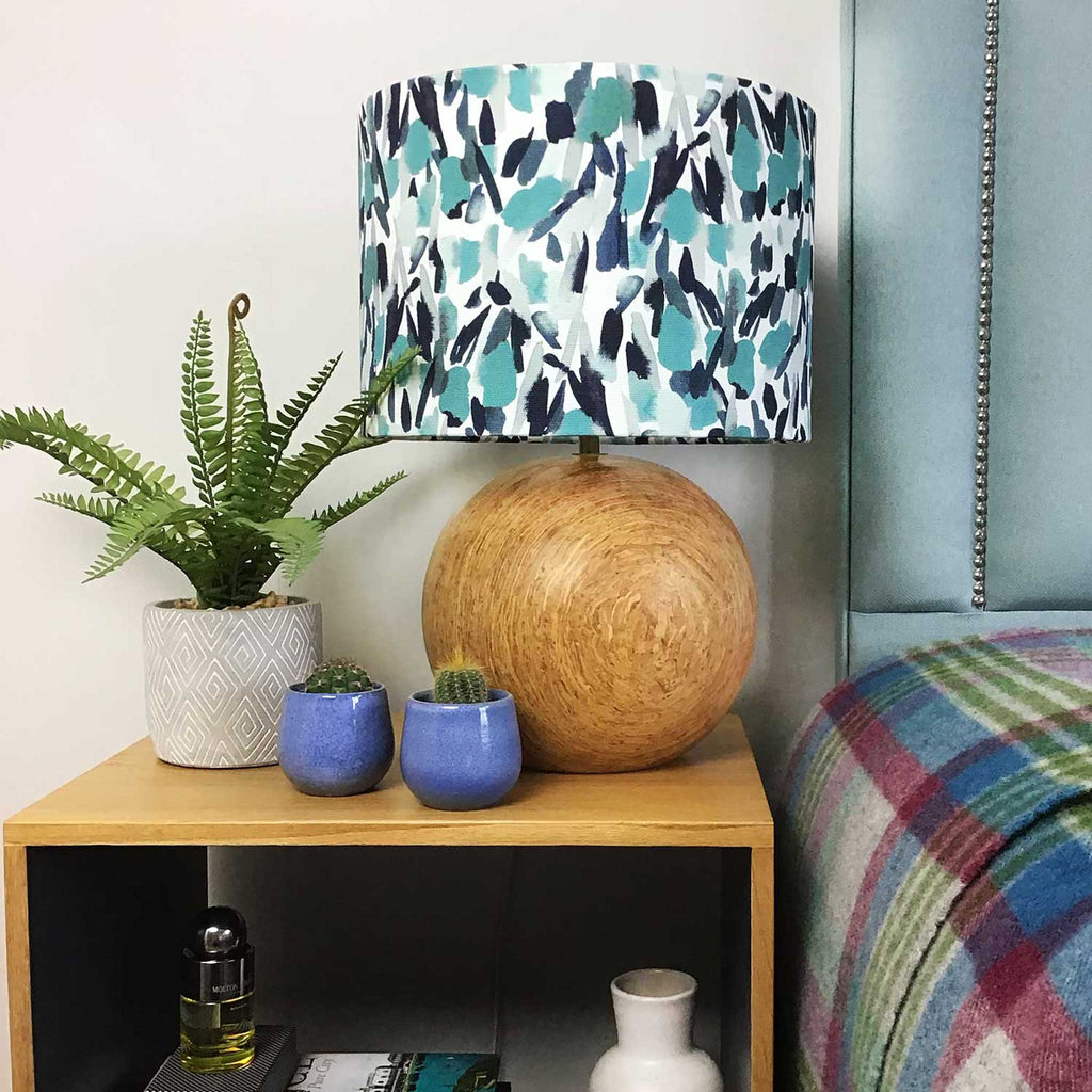 Shade on a Bedside Table Lamp. With Brush Strokes in Navy and Teal Design - ZziniHome