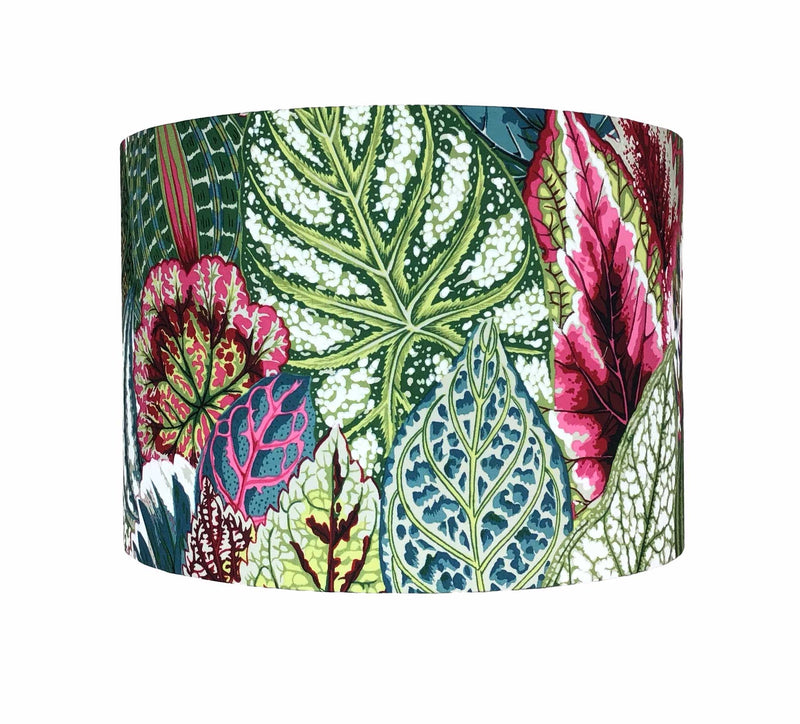 Colourful Lamp Shade with Large Petunia Leaves in Teal, Greens and Burgundy, Side View - ZziniHome