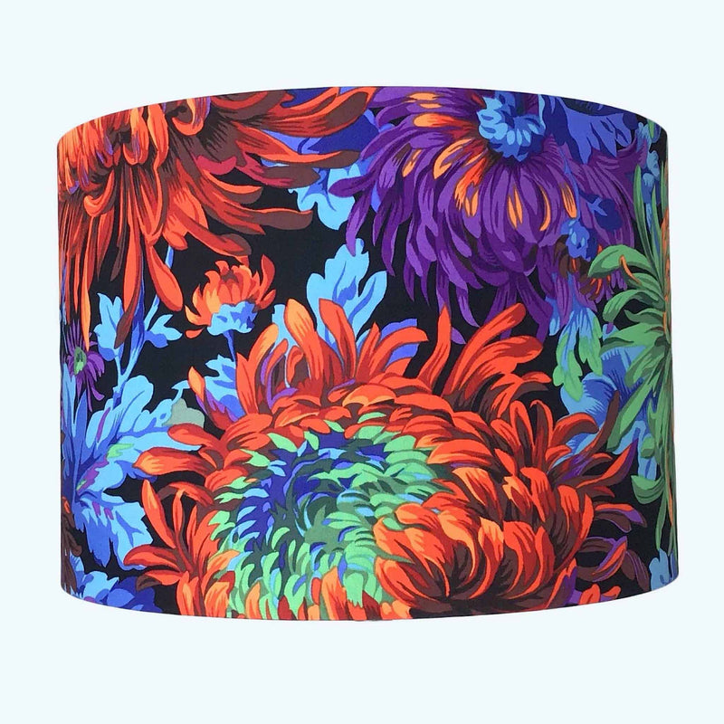 Handmade Lamp Shade in Large Blue and Red Chrysanthemums