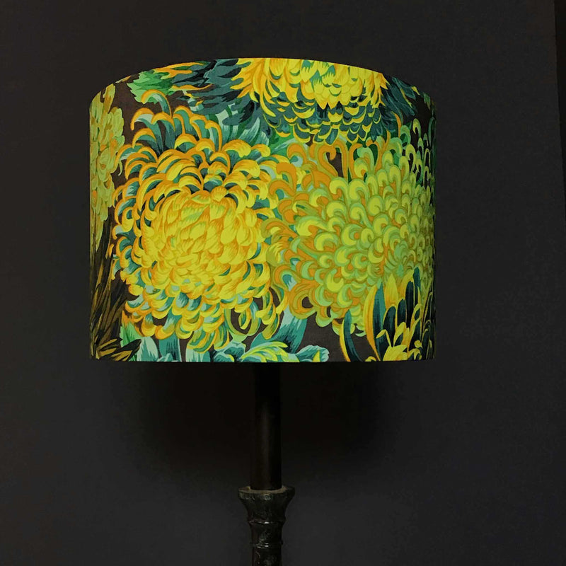 Fabric showing Colourful Floral Design in Turquoise, Teal and Green for Bespoke Lamp Shade - ZziniHome