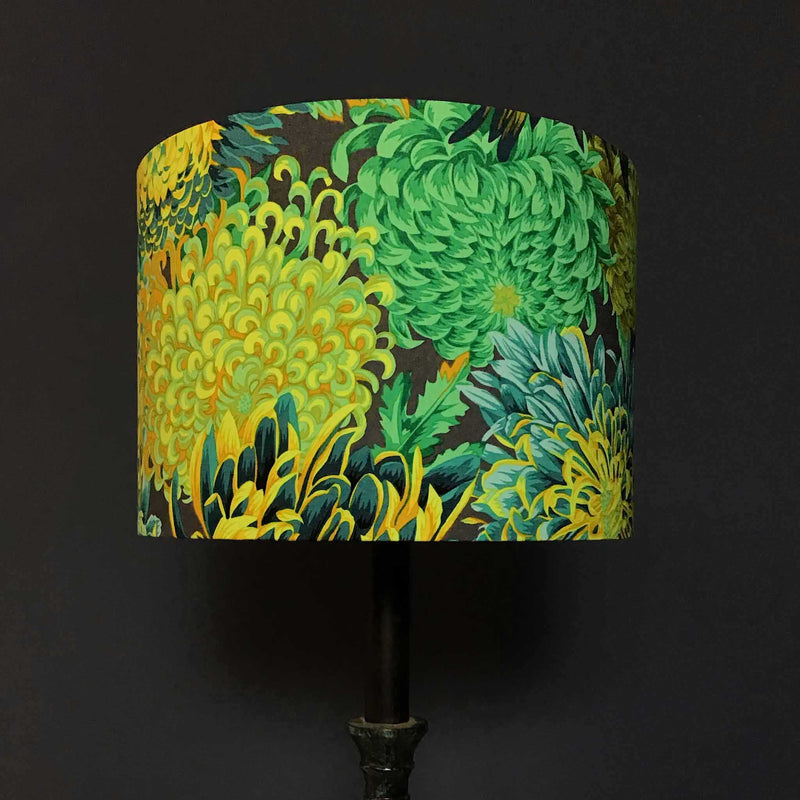 Lamp Shade with Beautiful Flowers in Green, Teal and Yellow  - ZziniHome