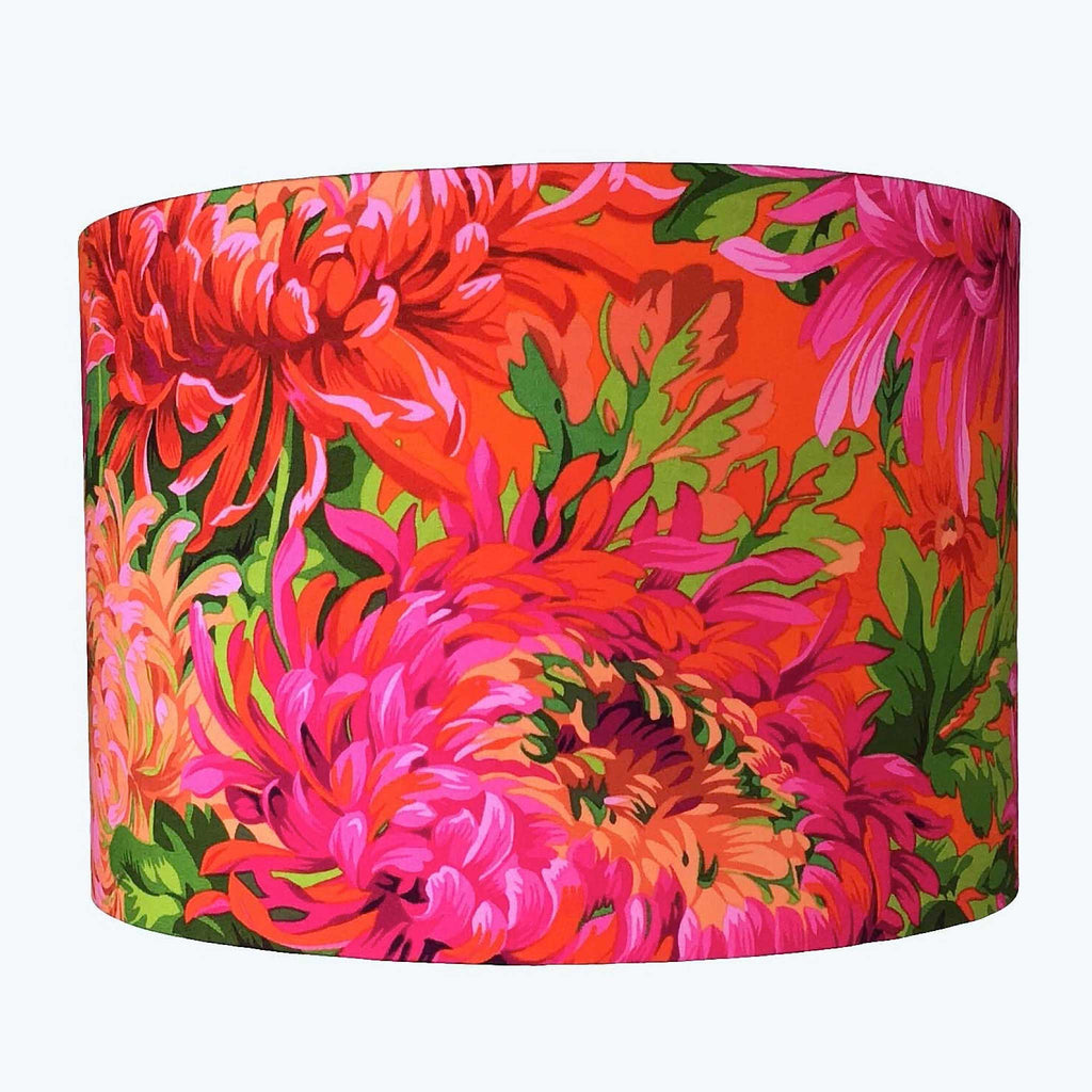 Handmade Lamp Shade with Bold Blossom in Reds, Oranges and Flaming Pinks - ZziniHome