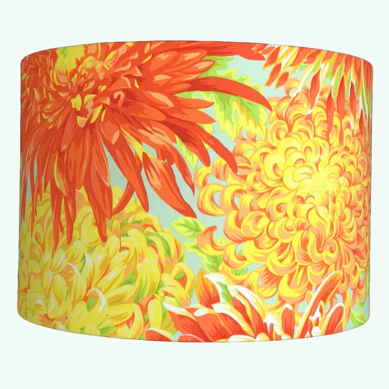 Lamp Shade In a Stunning Bright Flower in Oranges and Yellows on a Duck Blue background - ZziniHome