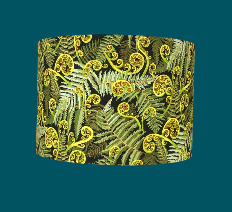 Botanical Lamp Shade with Unfurling Ferns on a Teal Background