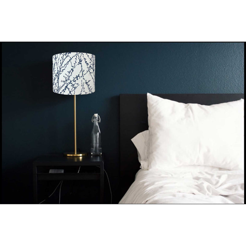 Navy Twigs on a White Linen Lamp Shade in a Room Painted Dark Navy - ZziniHome