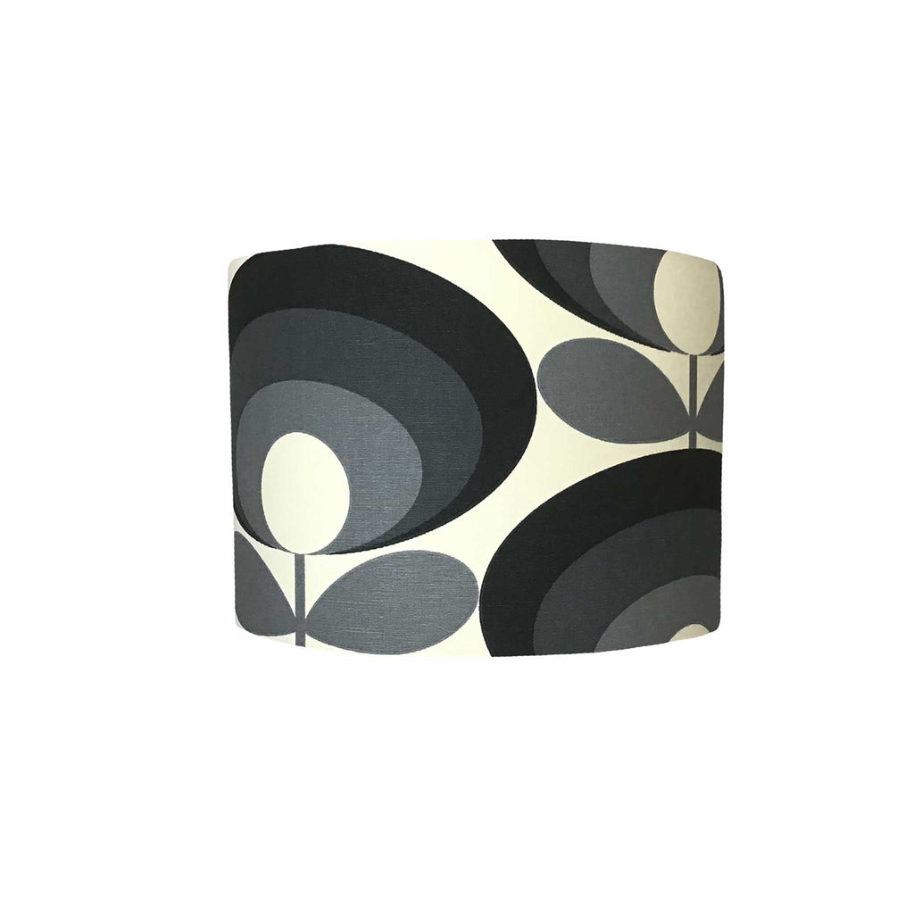 Drum Lamp Shade in A Large Abstract Flower In Black and Grey