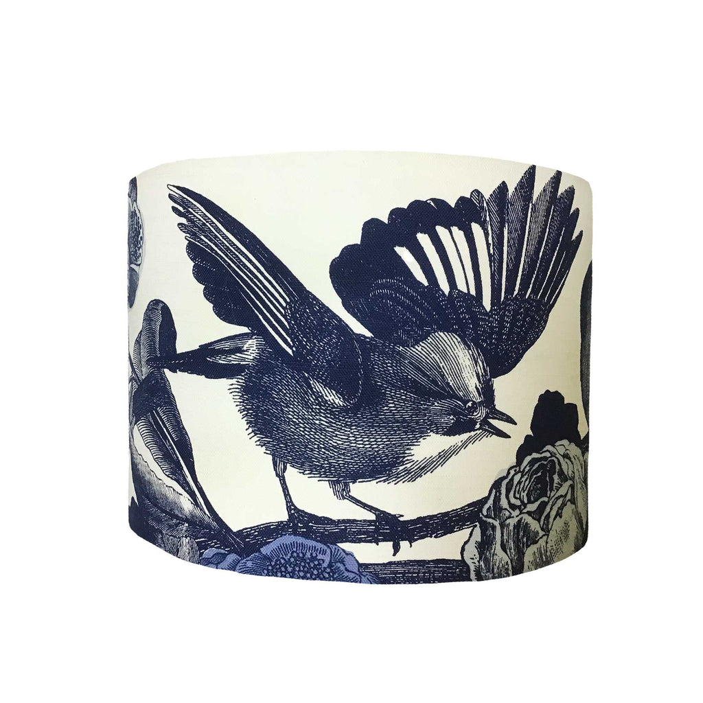 Drum Lamp Shade in a Design of the Small Birds we So Love, Drawn in a Dark Navy Colour Against a White Cotton Background, Front View - ZziniHome