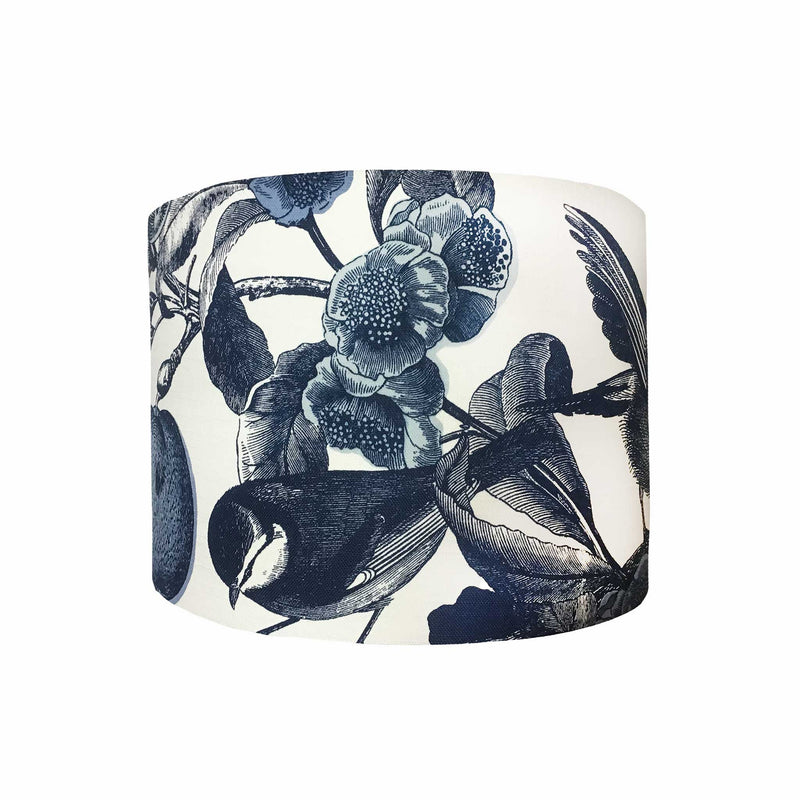 Drum Lamp Shade in a Design of the Small Birds we So Love, Drawn in a Dark Navy Colour Against a White Cotton Background, Side View - ZziniHome