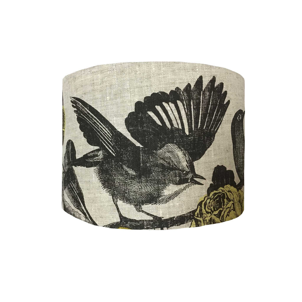 Lamp Shade of Small Common and Much Loved Bird Design in grey and Ochre, Front View - ZziniHome