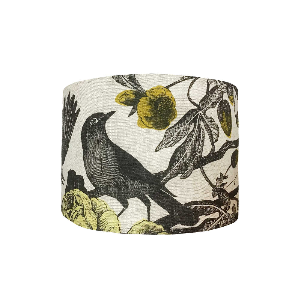 Lamp Shade of A Much Loved  Black Bird Design in Grey and Ochre, Side View - ZziniHome
