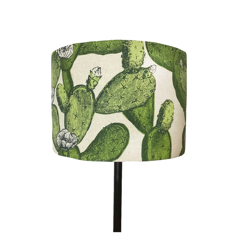 Succulent Cactus in Flower is the Theme of this Lamp Shade , Green on Linen, On View - ZziniHome