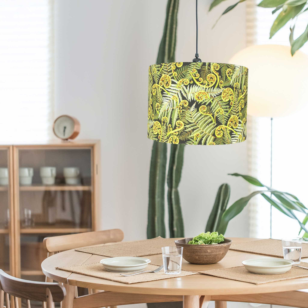 Botanical Lamp Shade Hanging from the Ceiling in a Dining Room - ZziniHome