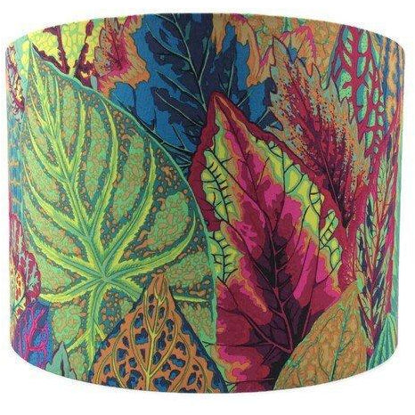 Colourful Lamp Shade with Large Petunia Leaves in Blue, Burgundy and Green - ZziniHome