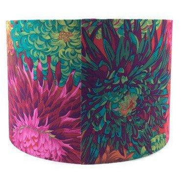 Handmade Lamp Shade with Bold Flowers in Pinks and Greens - ZziniHome