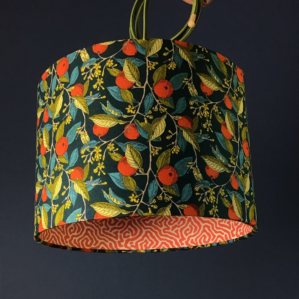Handmade Lamp Shade with Liberty design and Harlequin Paper. Orange, Green and Teal on Navy Background - ZziniHome