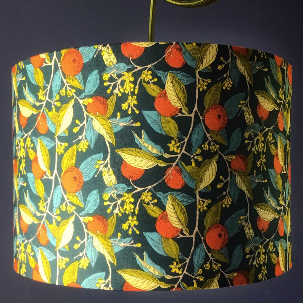Handmade Lamp Shade in Liberty Fabric in Orange Lining