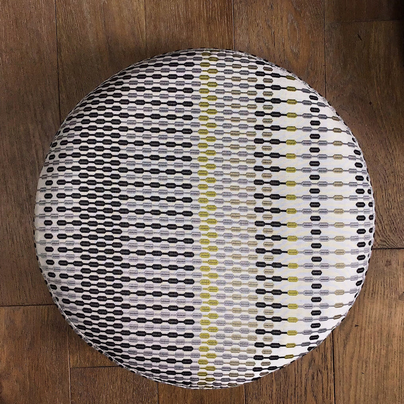 SoloStool in a grey and yellow geometric fabric - ZziniHome