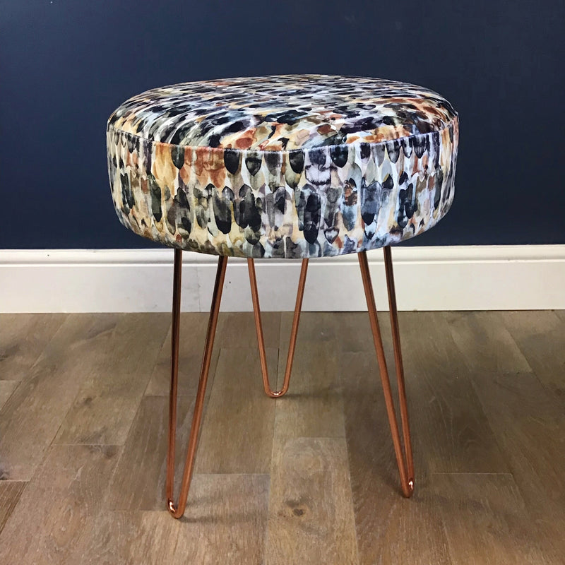 Stylish and super softstool in a grey paisley wool designer fabric