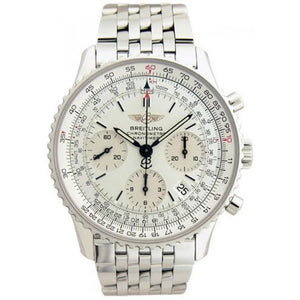 BREITLING STYLISH NAVITIMER WHITE SILVER CHAIN 4475