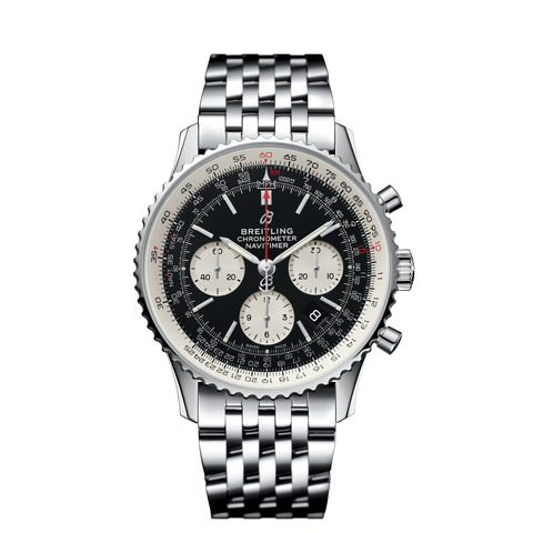 BREITLING STYLISH NAVITIMER BLACK SILVER CHAIN 2457