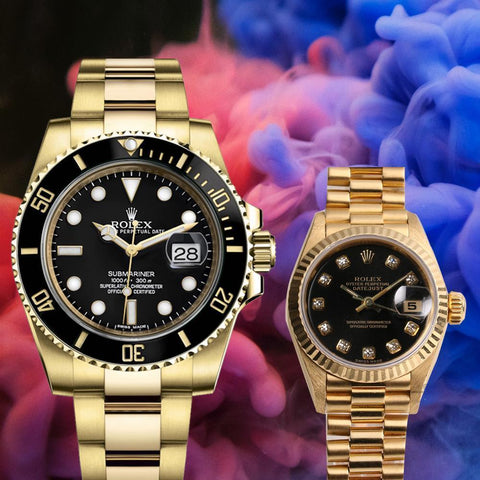 Rolex submarimer gold black couple