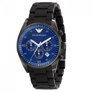 EMPORIO ARMANI AR 6032 FULL BLACK BLUE DIAL