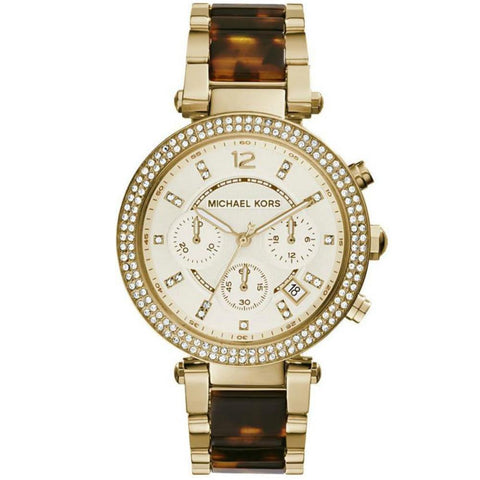 MICHAEL KORS YELLOW GOLD-PLATED CHRONOGRAPH WATCH MK568