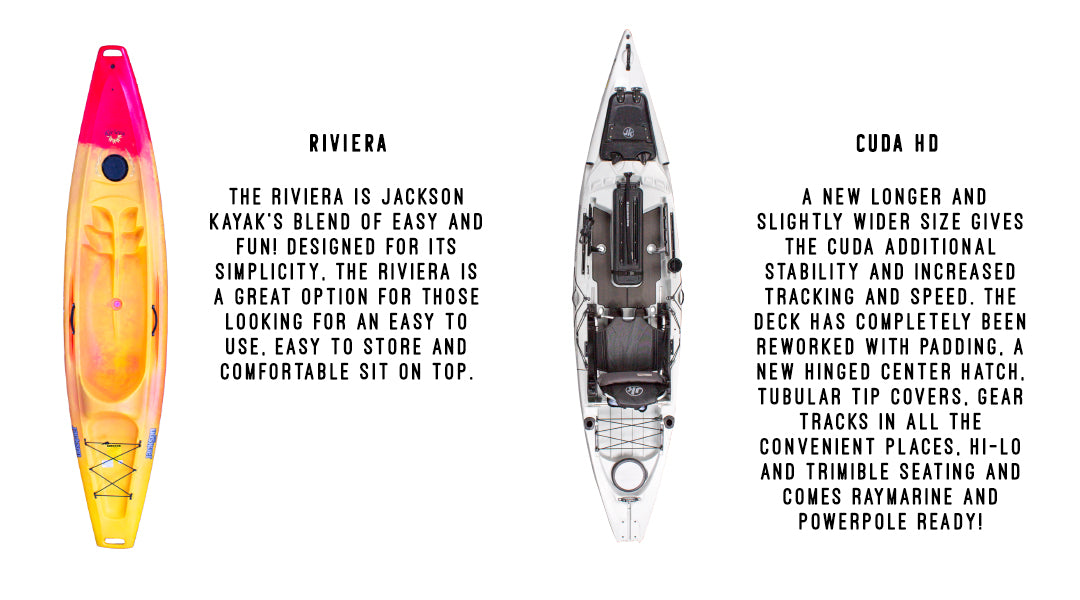 Jackson Kayak Riviera and Jackson Kayak Cuda HD