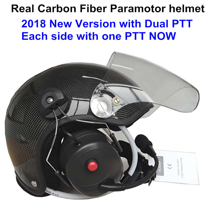 YUENY CFYPHH-4000F REAL carbon fiber paramotor helmet with noise canceling headset powered paragliding