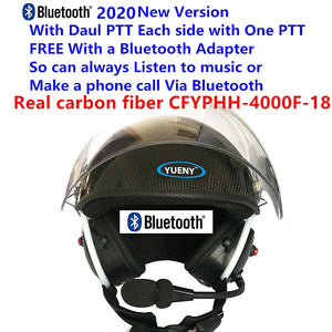 YUENY CFYPHH-4000F-BT18  carbon fiber paramotor helmet with noise canceling headset FREE with BLUETOOTH Adapter powered paragliding