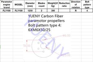 FLY100 125cm paramotor propellers carbon fiber YUENY 125cm