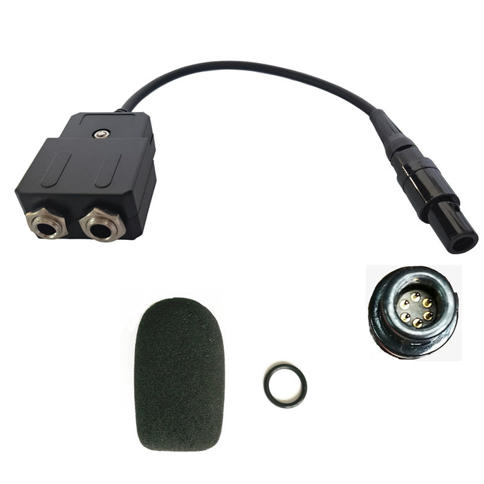 GA-L adapter for aviation headset with twin GA plugs to lemo 6 pin connector