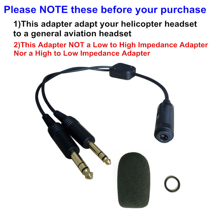 UFQ H-GA Helicopter to General Aviation Headset Adapter adapt your helicopter headset to a general aviation free with super high density sponge O ring