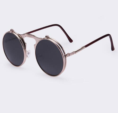 Round Designer Steam Punk Men Sunglasses